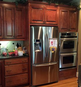 newly refinished kitchen cabinets
